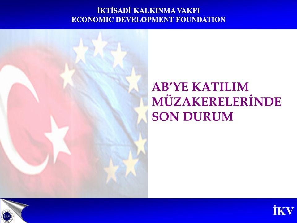 İKV İKTİSADİ KALKINMA VAKFI ECONOMIC DEVELOPMENT FOUNDATION Açılan Başlıklar (8)  Bilim ve Araştırma  İstatistik  İşletme ve Sanayi Politikası  Trans-Avrupa Ağları  Tüketici ve Sağlığın Korunması  Mali Kontrol  Şirketler Hukuku  Fikri Mülkiyet Hukuku Askıya Alınan Başlıklar (8)  Dış ilişkiler  Dış Politika, Güvenlik ve Savunma Politikası  İşçilerin Serbest Dolaşımı  Gümrük Birliği  Tarım ve Kırsal Kalkınma  Balıkçılık  Mali Hizmetler  Ulaştırma Fransa Tarafından Açılması Veto Edilen Başlıklar (5)  Bölgesel Politika ve Yapısal Araçların Koordinasyonu  Tarım ve Kırsal Kalkınma  Ekonomik ve Parasal Politika  Mali ve Bütçesel Hükümler  Kurumlar