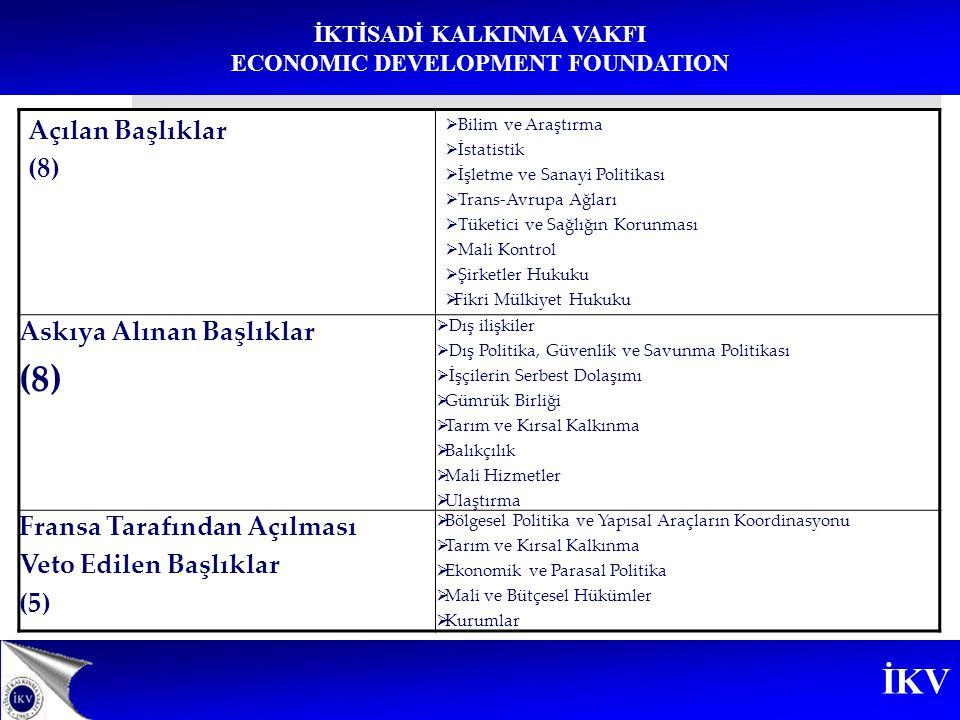 İKV İKTİSADİ KALKINMA VAKFI ECONOMIC DEVELOPMENT FOUNDATION Açılan Başlıklar (8)  Bilim ve Araştırma  İstatistik  İşletme ve Sanayi Politikası  Tr