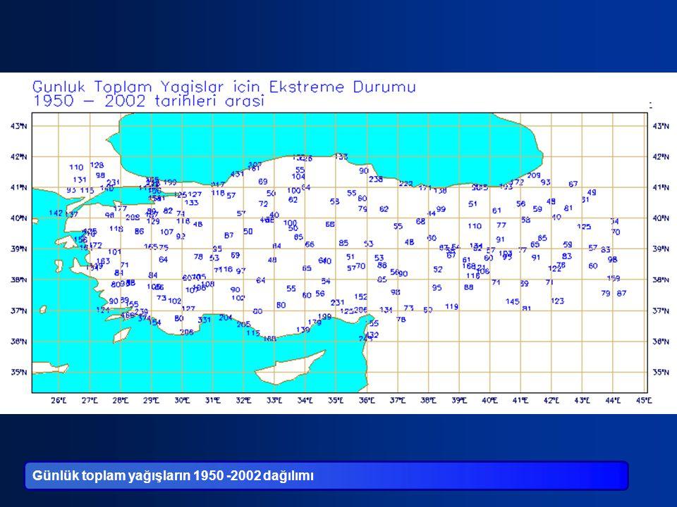 Günlük toplam yağışların 1950 -2002 dağılımı