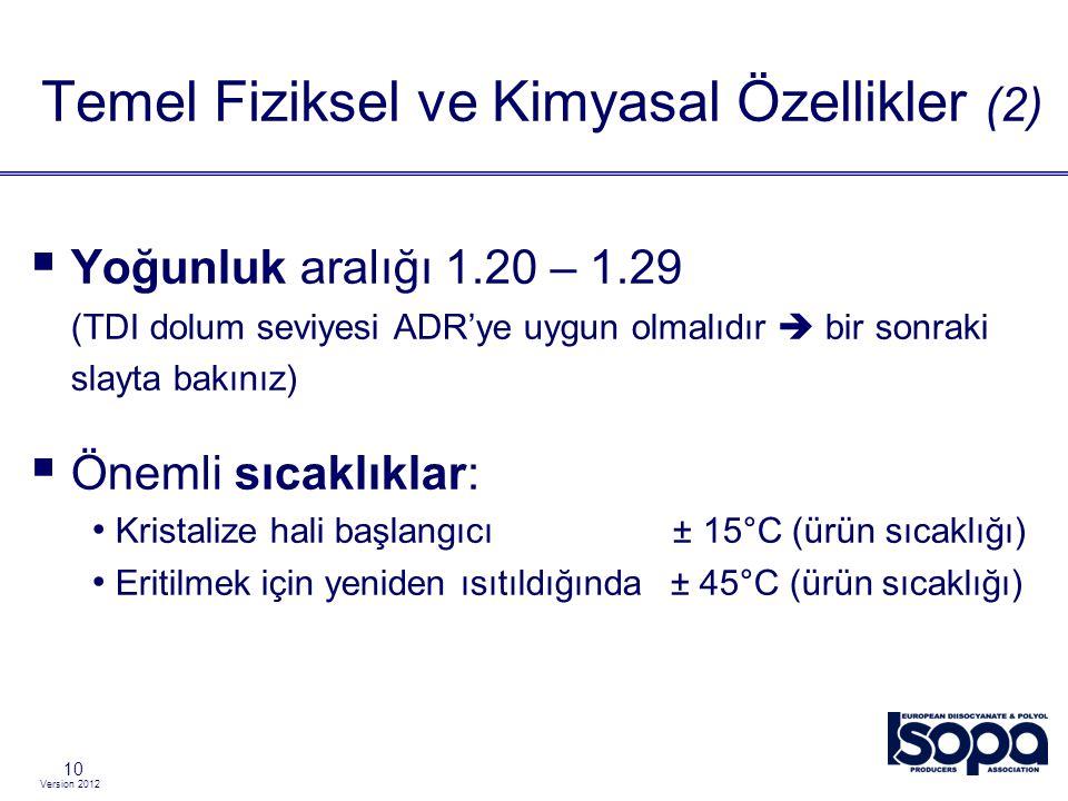Version 2012 10  Yoğunluk aralığı 1.20 – 1.29 (TDI dolum seviyesi ADR'ye uygun olmalıdır  bir sonraki slayta bakınız)  Önemli sıcaklıklar: Kristali