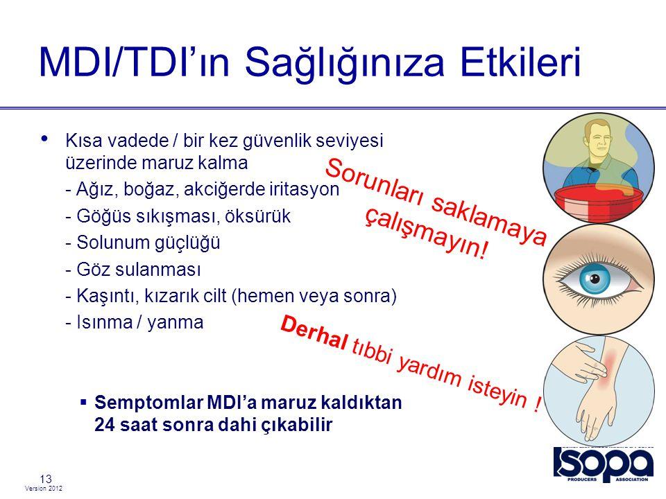 Version 2012 MDI/TDI'ın Sağlığınıza Etkileri 13 Kısa vadede / bir kez güvenlik seviyesi üzerinde maruz kalma - Ağız, boğaz, akciğerde iritasyon - Göğü
