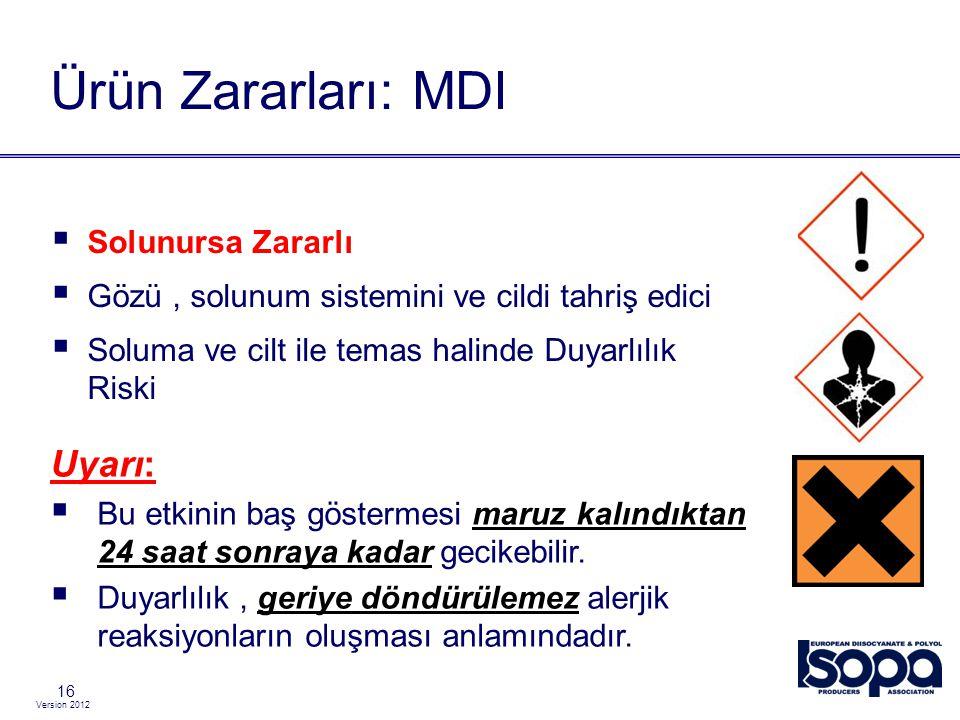 Version 2012 16 Ürün Zararları: MDI  Solunursa Zararlı  Gözü, solunum sistemini ve cildi tahriş edici  Soluma ve cilt ile temas halinde Duyarlılık