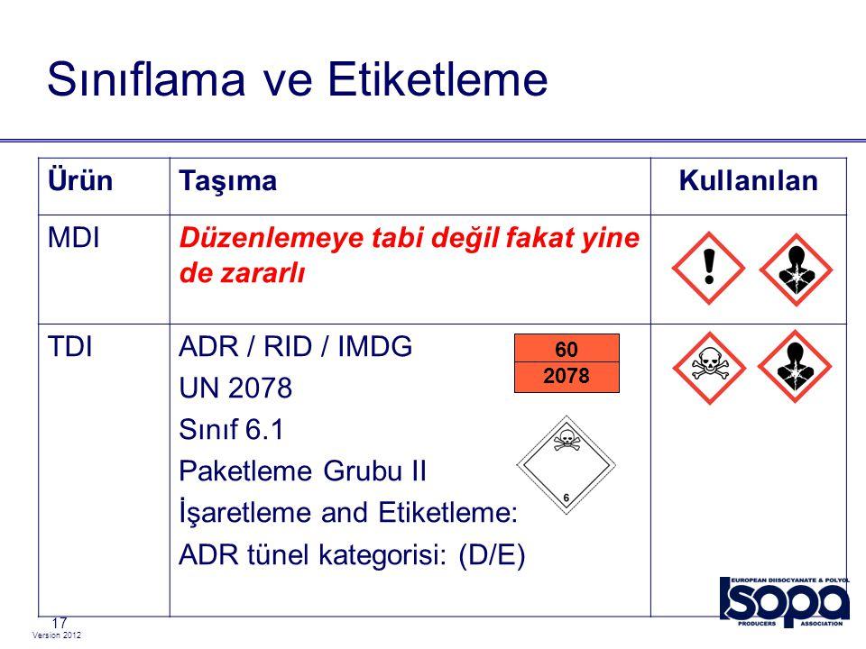 Version 2012 17 Sınıflama ve Etiketleme ÜrünTaşımaKullanılan MDIDüzenlemeye tabi değil fakat yine de zararlı TDIADR / RID / IMDG UN 2078 Sınıf 6.1 Pak