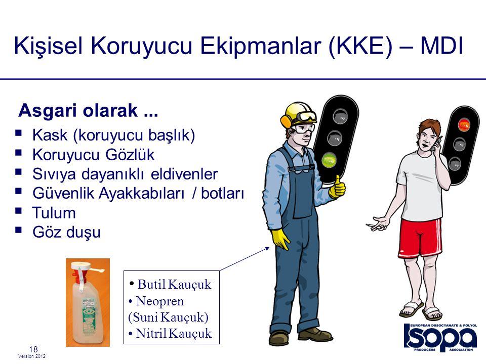 Version 2012 18  Kask (koruyucu başlık)  Koruyucu Gözlük  Sıvıya dayanıklı eldivenler  Güvenlik Ayakkabıları / botları  Tulum  Göz duşu Kişisel