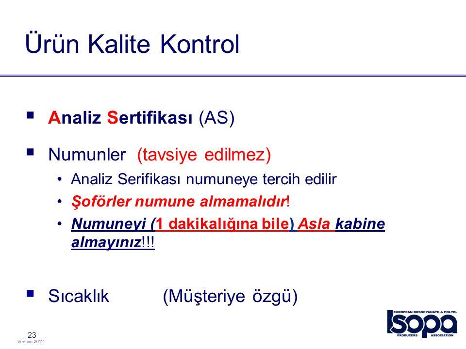 Version 2012 23 Ürün Kalite Kontrol  Analiz Sertifikası (AS)  Numunler (tavsiye edilmez) Analiz Serifikası numuneye tercih edilir Şoförler numune al