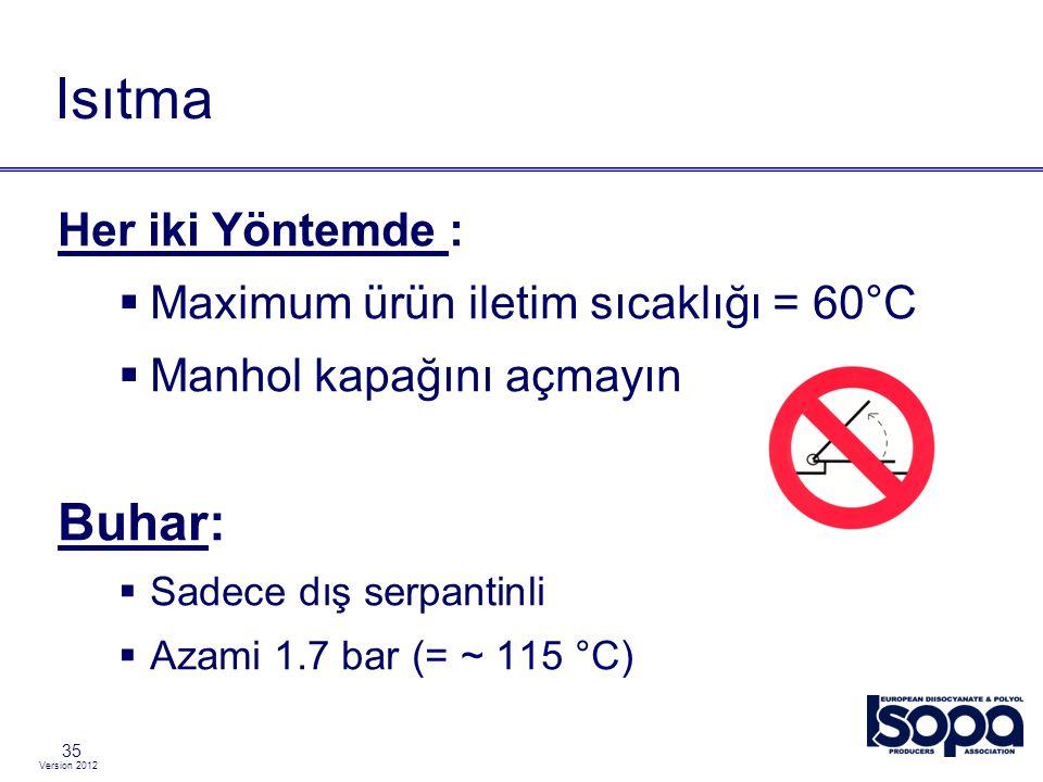 Version 2012 35 Isıtma Her iki Yöntemde :  Maximum ürün iletim sıcaklığı = 60°C  Manhol kapağını açmayın Buhar:  Sadece dış serpantinli  Azami 1.7