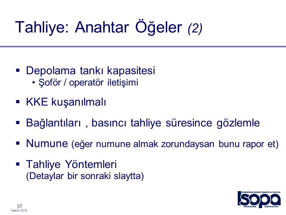 Version 2012 37  Depolama tankı kapasitesi Şoför / operatör iletişimi  KKE kuşanılmalı  Bağlantıları, basıncı tahliye süresince gözlemle  Numune (