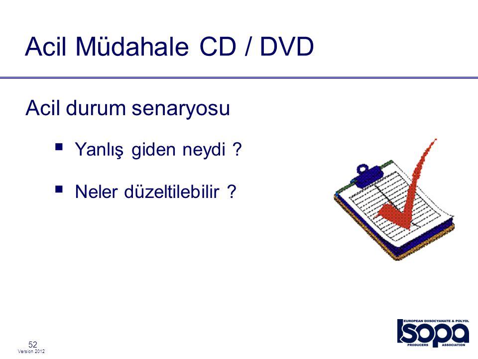 Version 2012 52 Acil Müdahale CD / DVD Acil durum senaryosu  Yanlış giden neydi ?  Neler düzeltilebilir ?