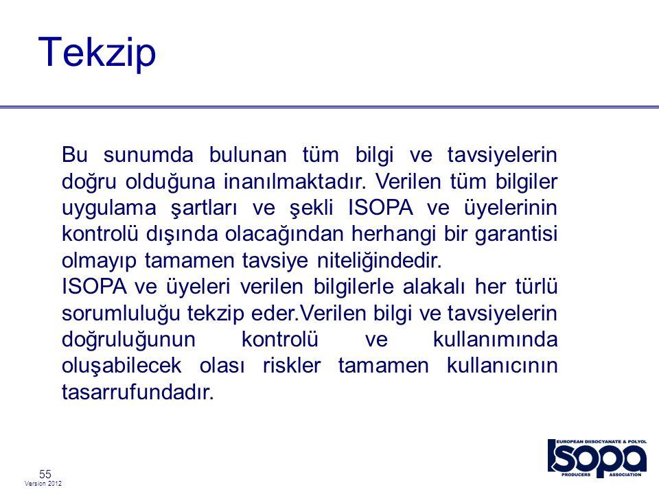 Version 2012 Tekzip 55 Bu sunumda bulunan tüm bilgi ve tavsiyelerin doğru olduğuna inanılmaktadır. Verilen tüm bilgiler uygulama şartları ve şekli ISO