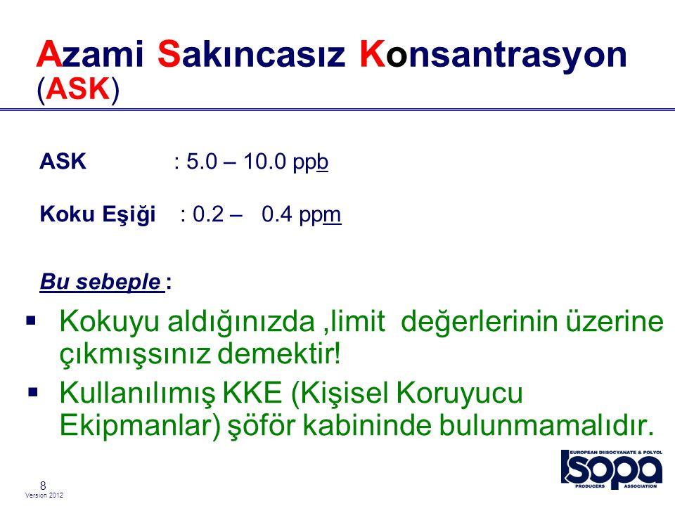 Version 2012 8 Azami Sakıncasız Konsantrasyon (ASK) ASK : 5.0 – 10.0 ppb Koku Eşiği : 0.2 – 0.4 ppm Bu sebeple :  Kokuyu aldığınızda,limit değerlerin