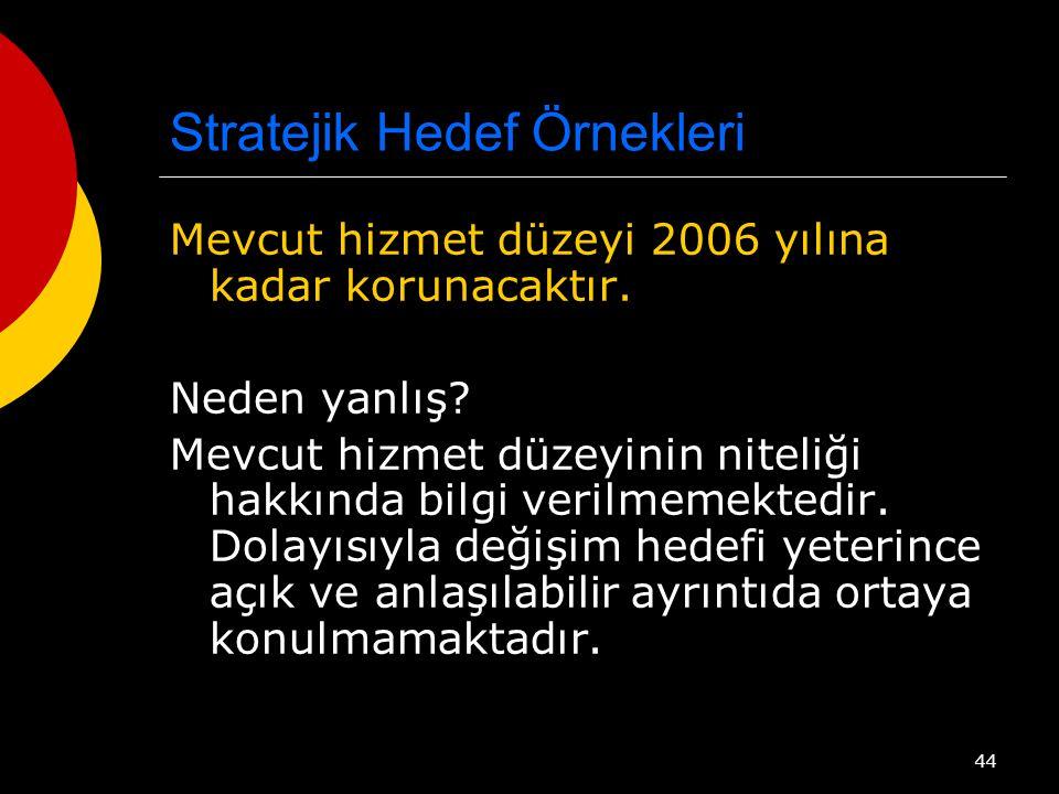 44 Stratejik Hedef Örnekleri Mevcut hizmet düzeyi 2006 yılına kadar korunacaktır.
