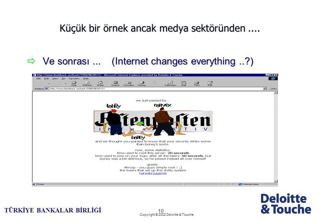 9 TÜRKİYE BANKALAR BİRLİĞİ Copyright © 2002 Deloitte & Touche.