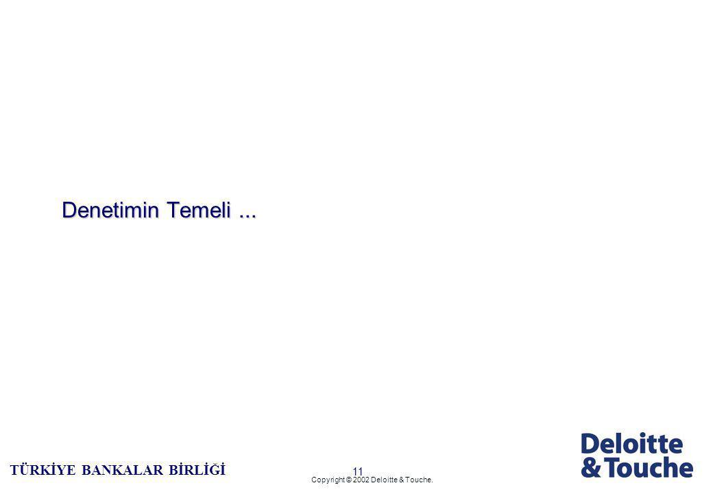10 TÜRKİYE BANKALAR BİRLİĞİ Copyright © 2002 Deloitte & Touche.