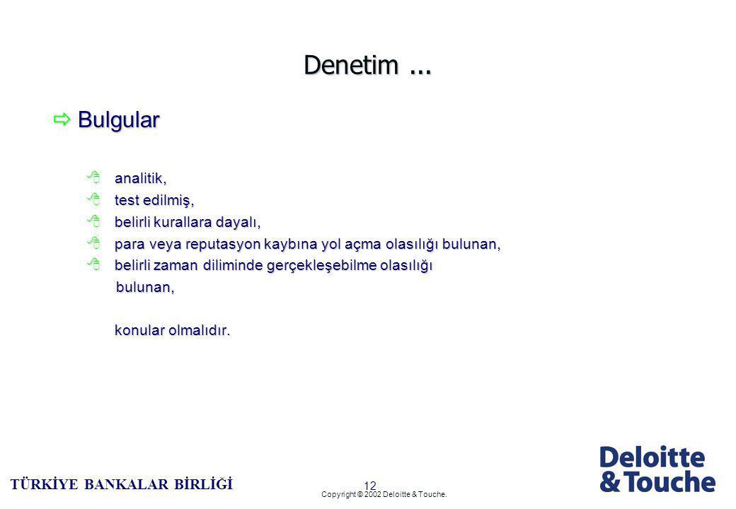 11 TÜRKİYE BANKALAR BİRLİĞİ Copyright © 2002 Deloitte & Touche. Denetimin Temeli...