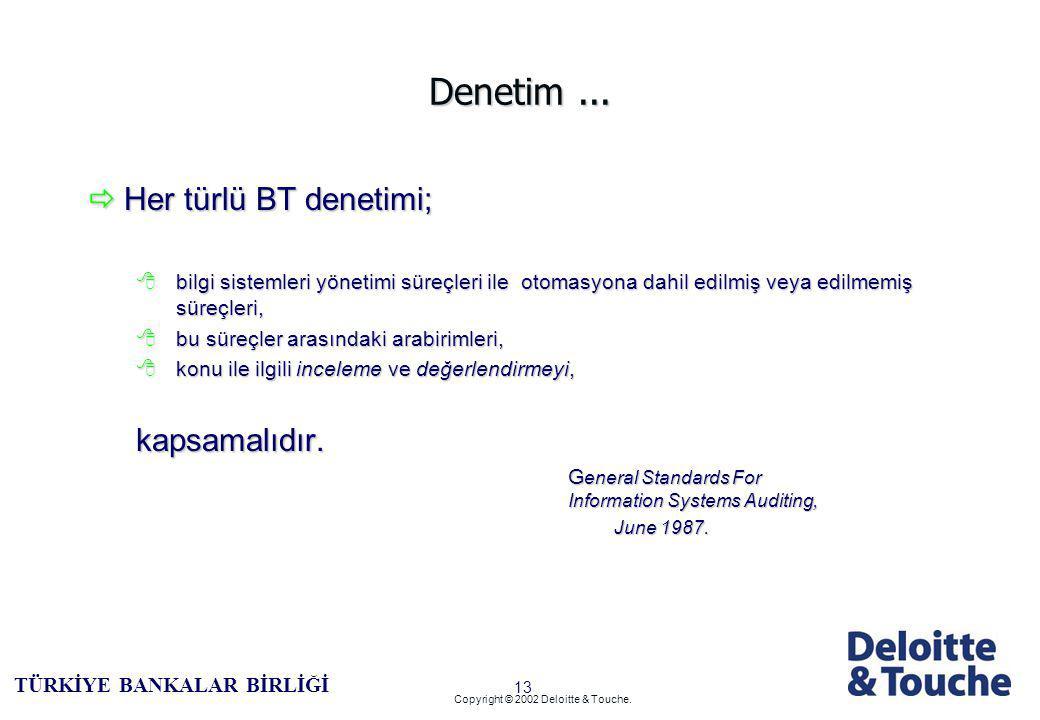 12 TÜRKİYE BANKALAR BİRLİĞİ Copyright © 2002 Deloitte & Touche.