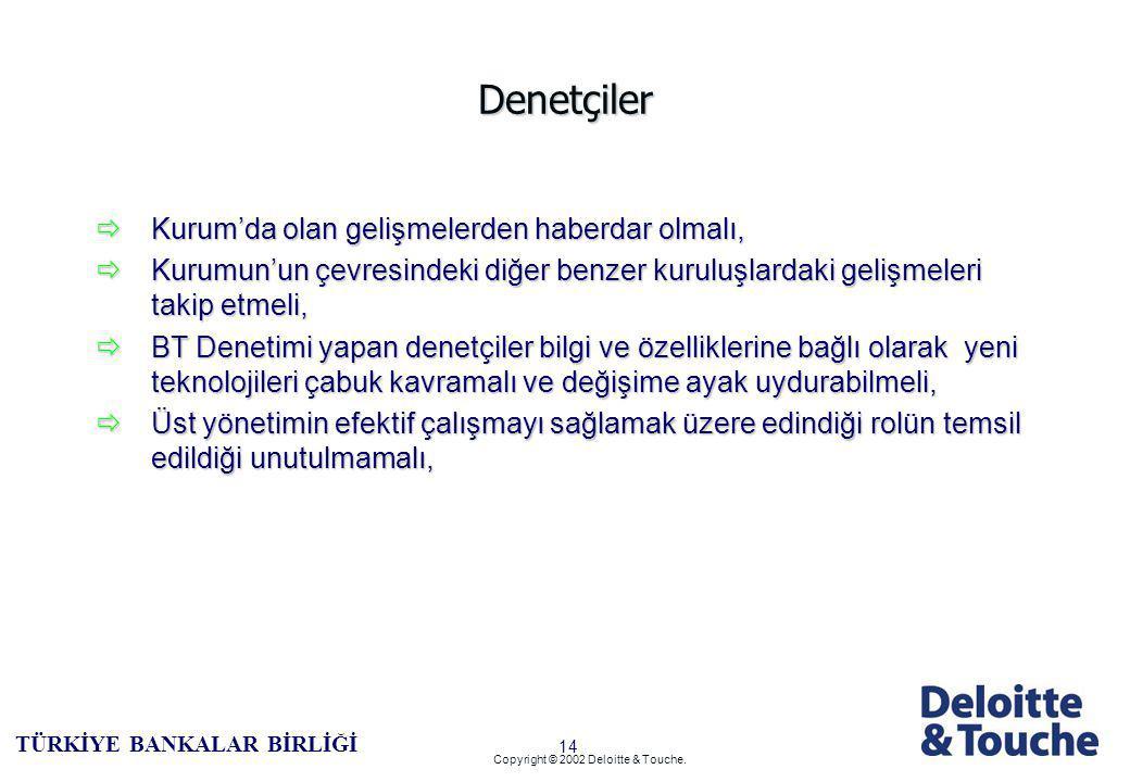 13 TÜRKİYE BANKALAR BİRLİĞİ Copyright © 2002 Deloitte & Touche.