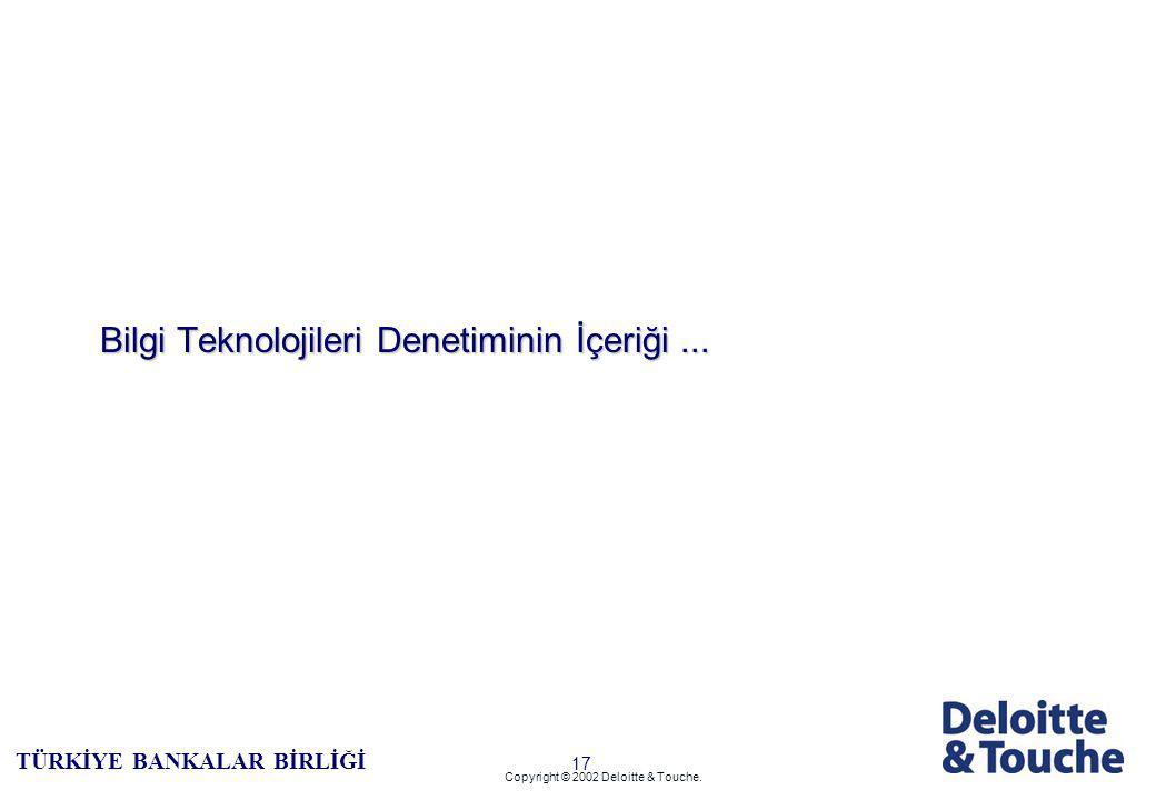 16 TÜRKİYE BANKALAR BİRLİĞİ Copyright © 2002 Deloitte & Touche.