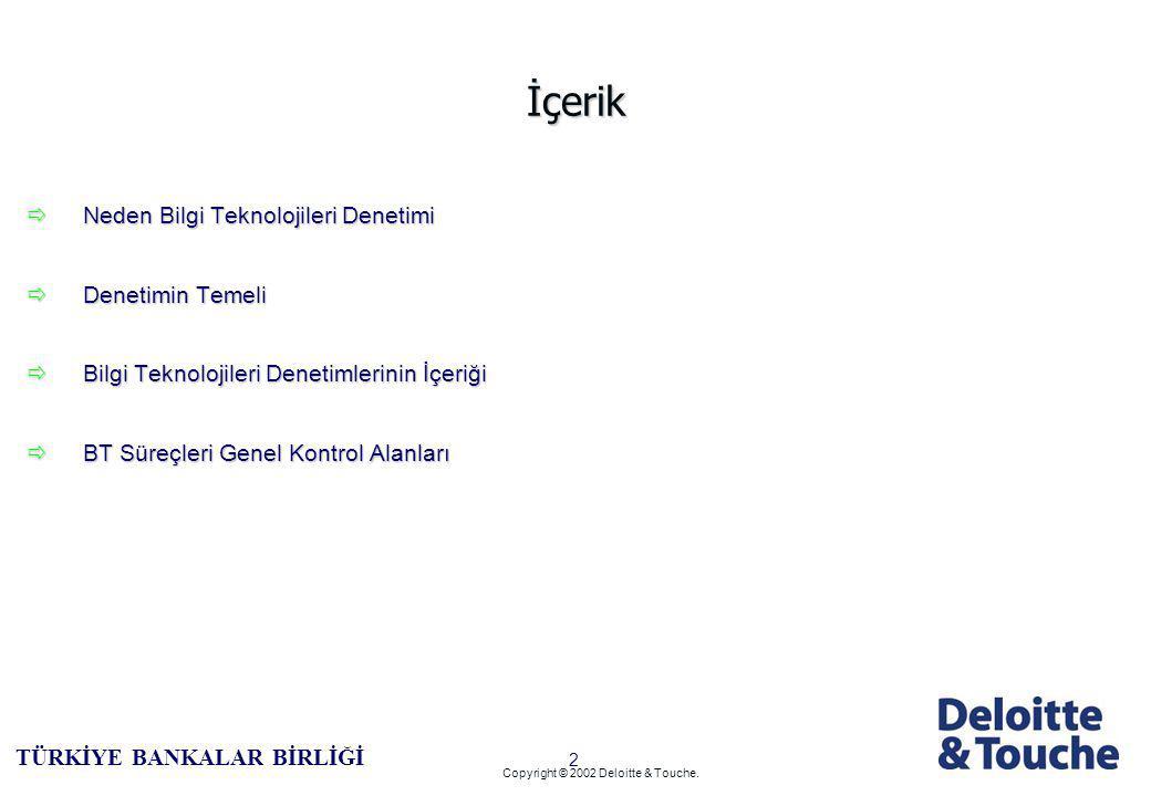 1 TÜRKİYE BANKALAR BİRLİĞİ Copyright © 2002 Deloitte & Touche.