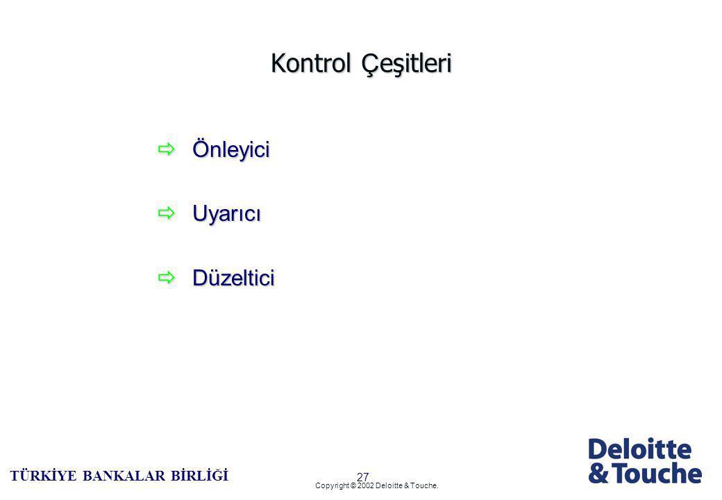 26 TÜRKİYE BANKALAR BİRLİĞİ Copyright © 2002 Deloitte & Touche.