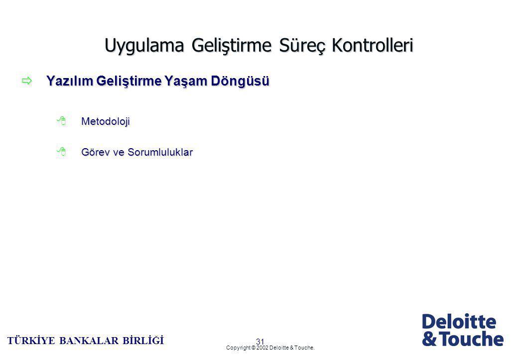 30 TÜRKİYE BANKALAR BİRLİĞİ Copyright © 2002 Deloitte & Touche.
