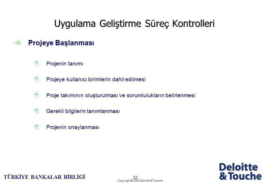 31 TÜRKİYE BANKALAR BİRLİĞİ Copyright © 2002 Deloitte & Touche.