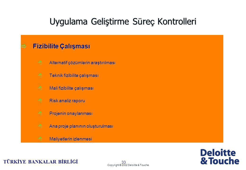 32 TÜRKİYE BANKALAR BİRLİĞİ Copyright © 2002 Deloitte & Touche.