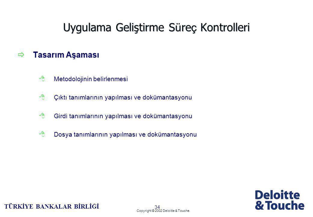 33 TÜRKİYE BANKALAR BİRLİĞİ Copyright © 2002 Deloitte & Touche.