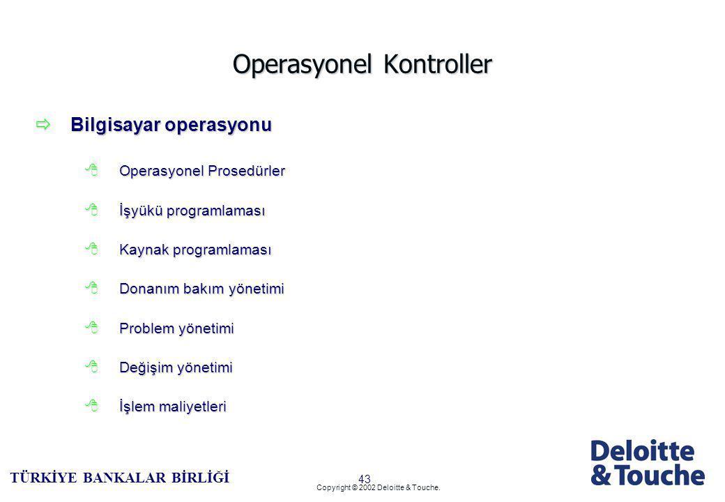42 TÜRKİYE BANKALAR BİRLİĞİ Copyright © 2002 Deloitte & Touche.