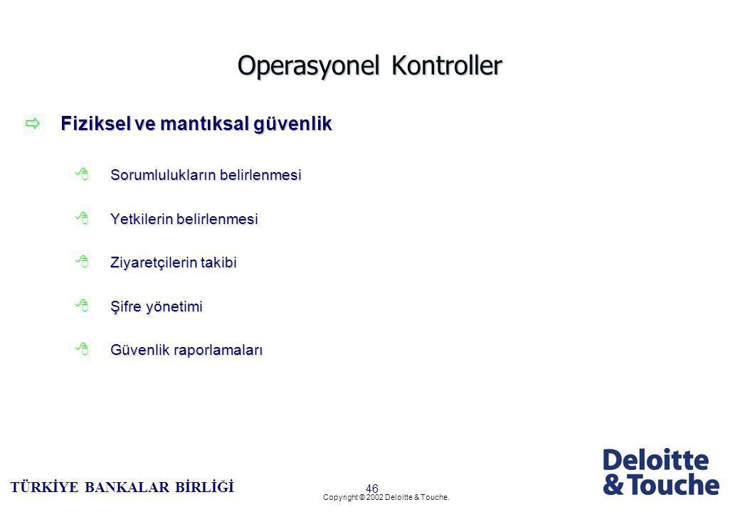 45 TÜRKİYE BANKALAR BİRLİĞİ Copyright © 2002 Deloitte & Touche.