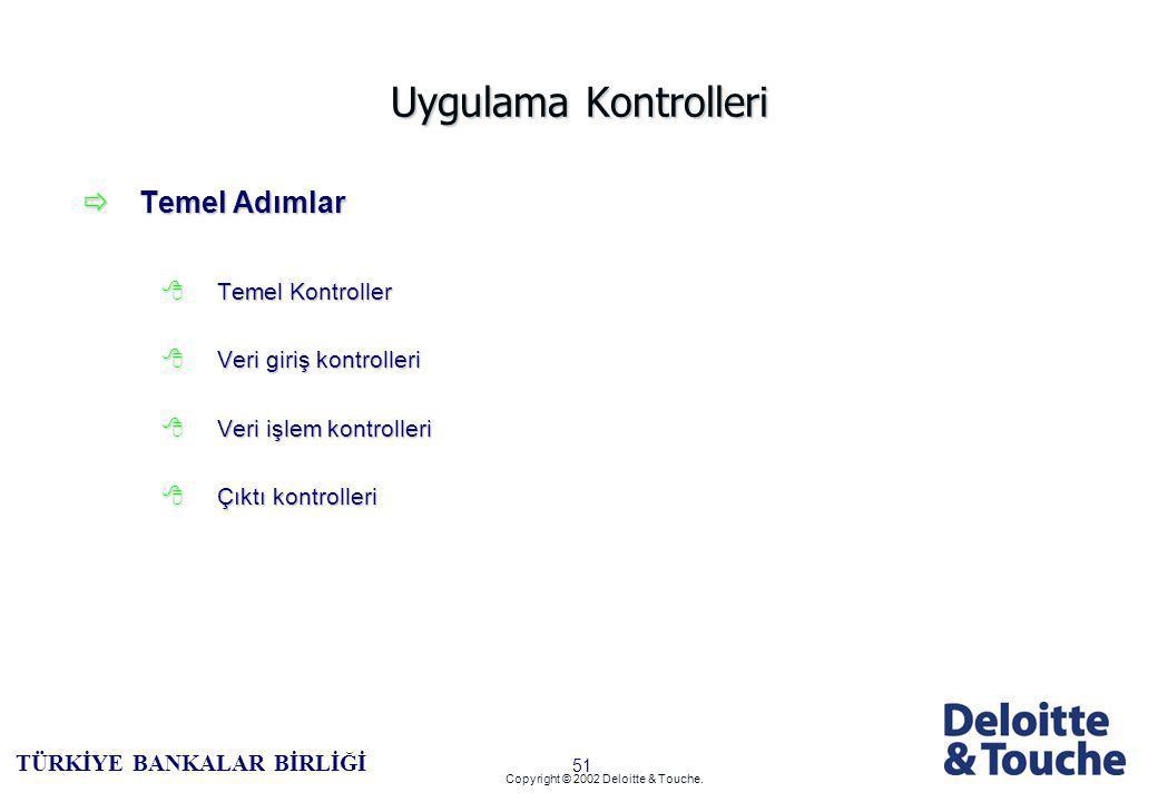 50 TÜRKİYE BANKALAR BİRLİĞİ Copyright © 2002 Deloitte & Touche.