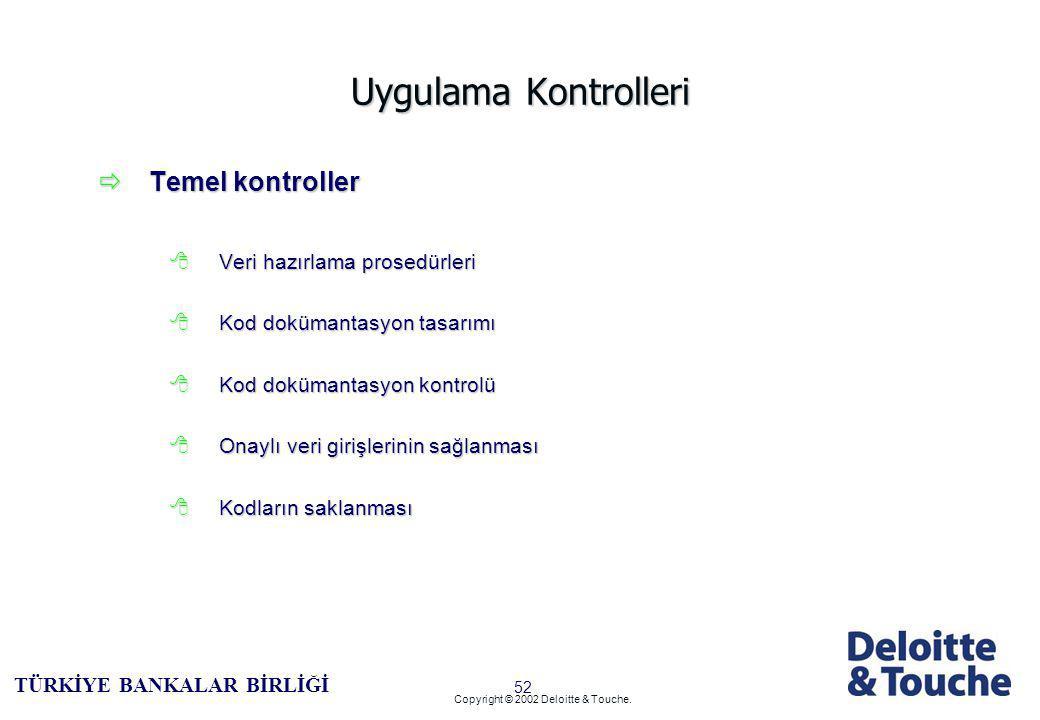 51 TÜRKİYE BANKALAR BİRLİĞİ Copyright © 2002 Deloitte & Touche.