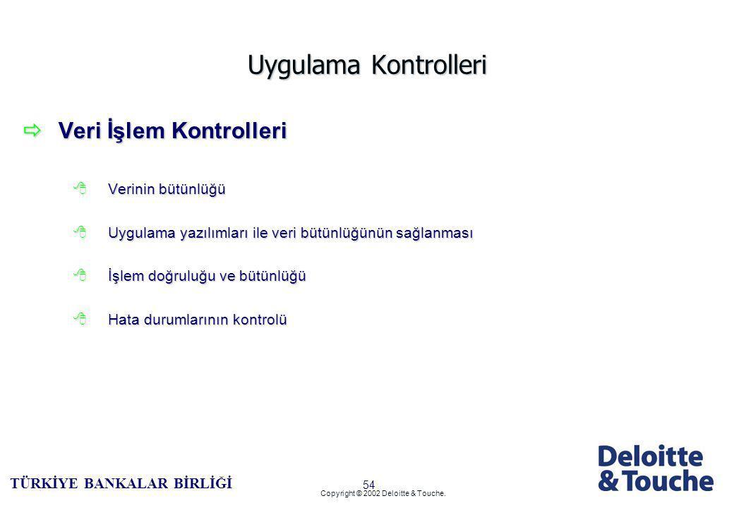 53 TÜRKİYE BANKALAR BİRLİĞİ Copyright © 2002 Deloitte & Touche.