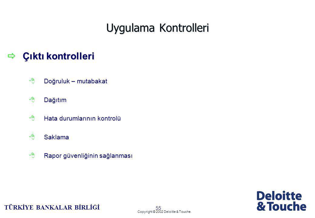 54 TÜRKİYE BANKALAR BİRLİĞİ Copyright © 2002 Deloitte & Touche.