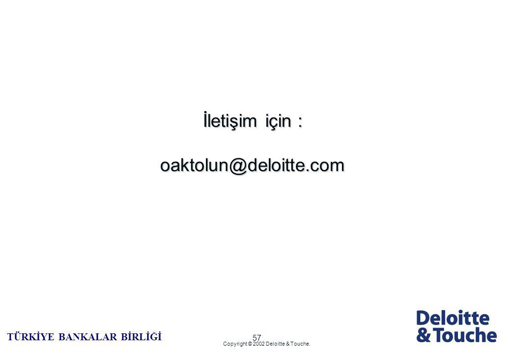 56 TÜRKİYE BANKALAR BİRLİĞİ Copyright © 2002 Deloitte & Touche. Global InSite and ERS Link AS/2 Audit Management System SekCheck BT Denetimi En İyi Uy