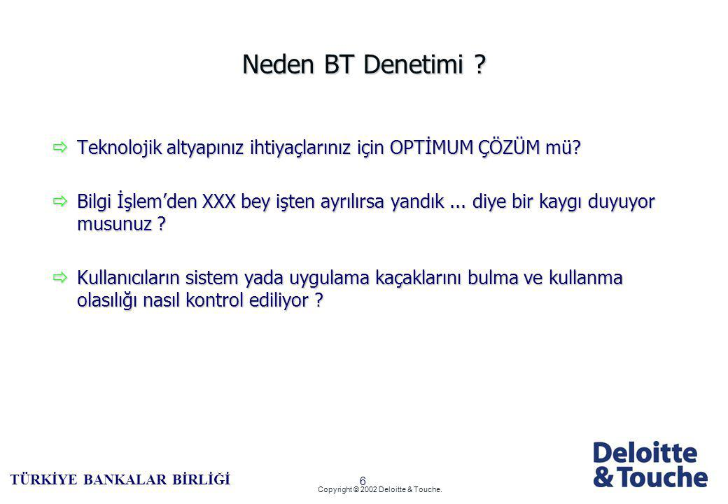 5 TÜRKİYE BANKALAR BİRLİĞİ Copyright © 2002 Deloitte & Touche.
