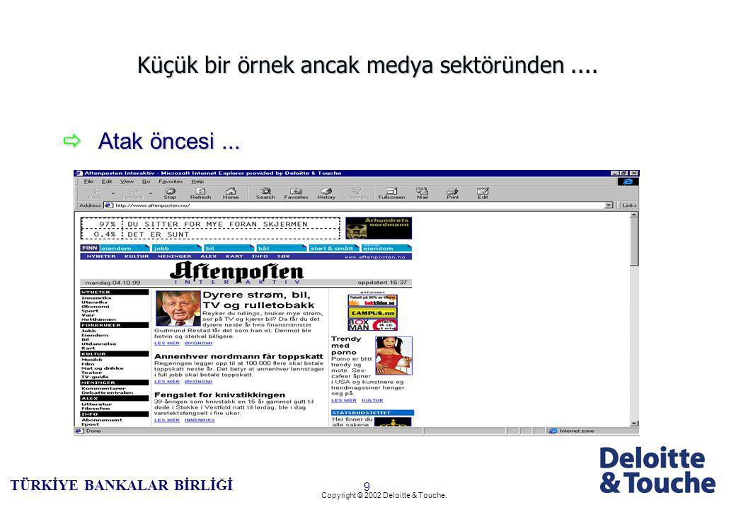 8 TÜRKİYE BANKALAR BİRLİĞİ Copyright © 2002 Deloitte & Touche.