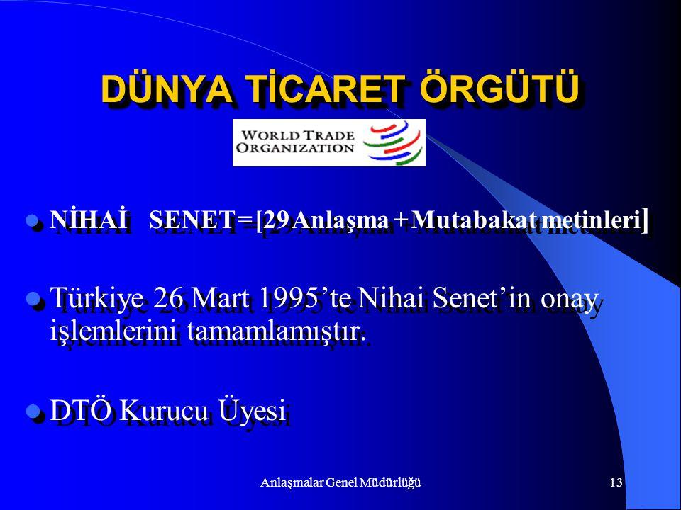Anlaşmalar Genel Müdürlüğü13 DÜNYA TİCARET ÖRGÜTÜ NİHAİ SENET = [29 Anlaşma + Mutabakat metinleri ] Türkiye 26 Mart 1995'te Nihai Senet'in onay işleml
