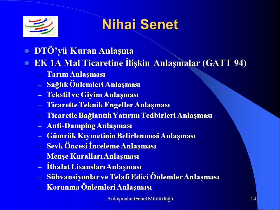 Anlaşmalar Genel Müdürlüğü14 Nihai Senet DTÖ'yü Kuran Anlaşma DTÖ'yü Kuran Anlaşma EK 1A Mal Ticaretine İlişkin Anlaşmalar (GATT 94) EK 1A Mal Ticaret