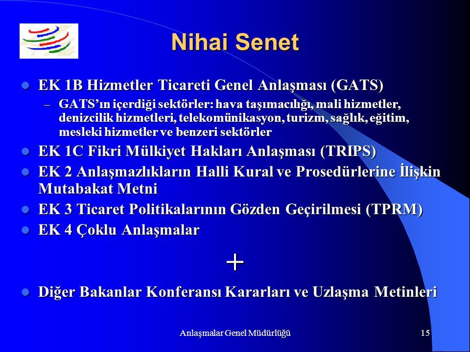Anlaşmalar Genel Müdürlüğü15 Nihai Senet EK 1B Hizmetler Ticareti Genel Anlaşması (GATS) EK 1B Hizmetler Ticareti Genel Anlaşması (GATS) – GATS'ın içe