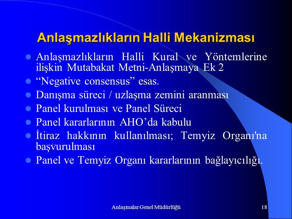 """Anlaşmalar Genel Müdürlüğü18 Anlaşmazlıkların Halli Mekanizması Anlaşmazlıkların Halli Kural ve Yöntemlerine ilişkin Mutabakat Metni-Anlaşmaya Ek 2 """"N"""