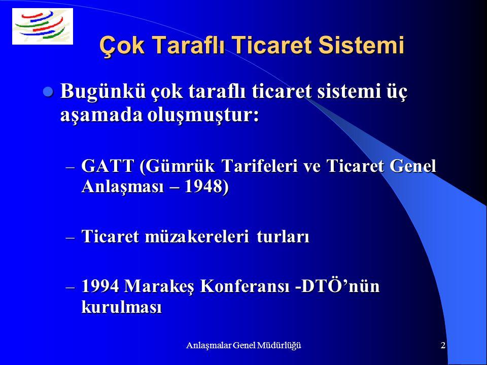 Anlaşmalar Genel Müdürlüğü2 Çok Taraflı Ticaret Sistemi Bugünkü çok taraflı ticaret sistemi üç aşamada oluşmuştur: Bugünkü çok taraflı ticaret sistemi