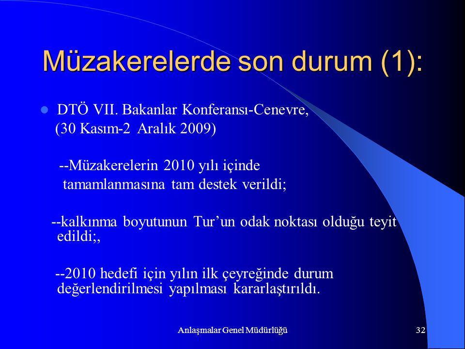Anlaşmalar Genel Müdürlüğü32 Müzakerelerde son durum (1): DTÖ VII. Bakanlar Konferansı-Cenevre, (30 Kasım-2 Aralık 2009) --Müzakerelerin 2010 yılı içi