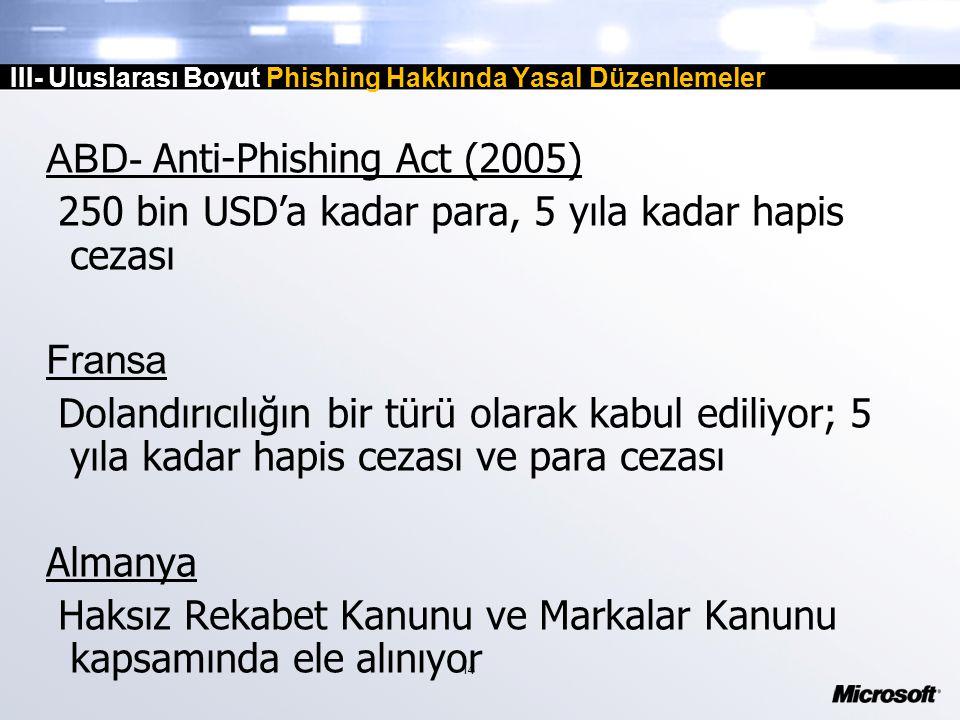 14 III- Uluslarası Boyut Phishing Hakkında Yasal Düzenlemeler ABD- Anti-Phishing Act (2005) 250 bin USD'a kadar para, 5 yıla kadar hapis cezası Fransa Dolandırıcılığın bir türü olarak kabul ediliyor; 5 yıla kadar hapis cezası ve para cezası Almanya Haksız Rekabet Kanunu ve Markalar Kanunu kapsamında ele alınıyor