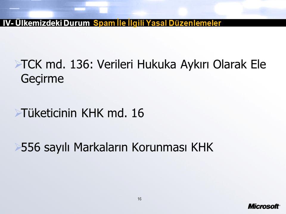 16 IV- Ülkemizdeki Durum Spam İle İlgili Yasal Düzenlemeler  TCK md.