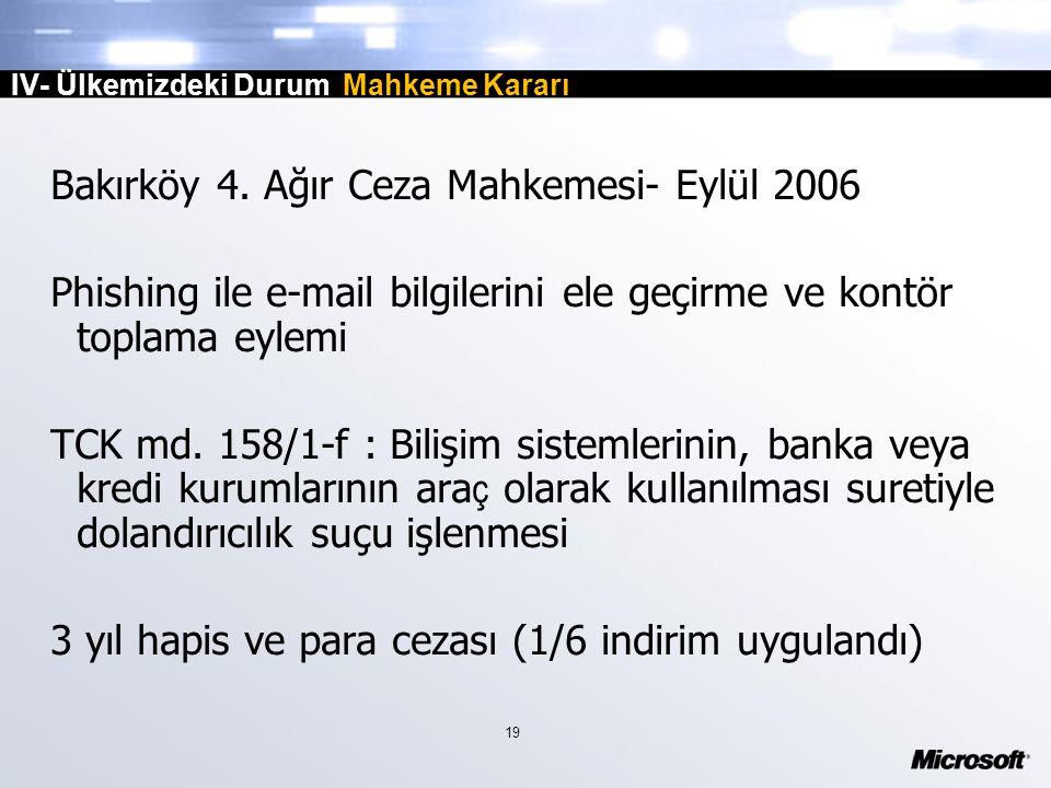 19 IV- Ülkemizdeki Durum Mahkeme Kararı Bakırköy 4.