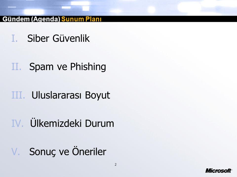 2 Gündem (Agenda) Sunum Planı I. Siber Güvenlik II.