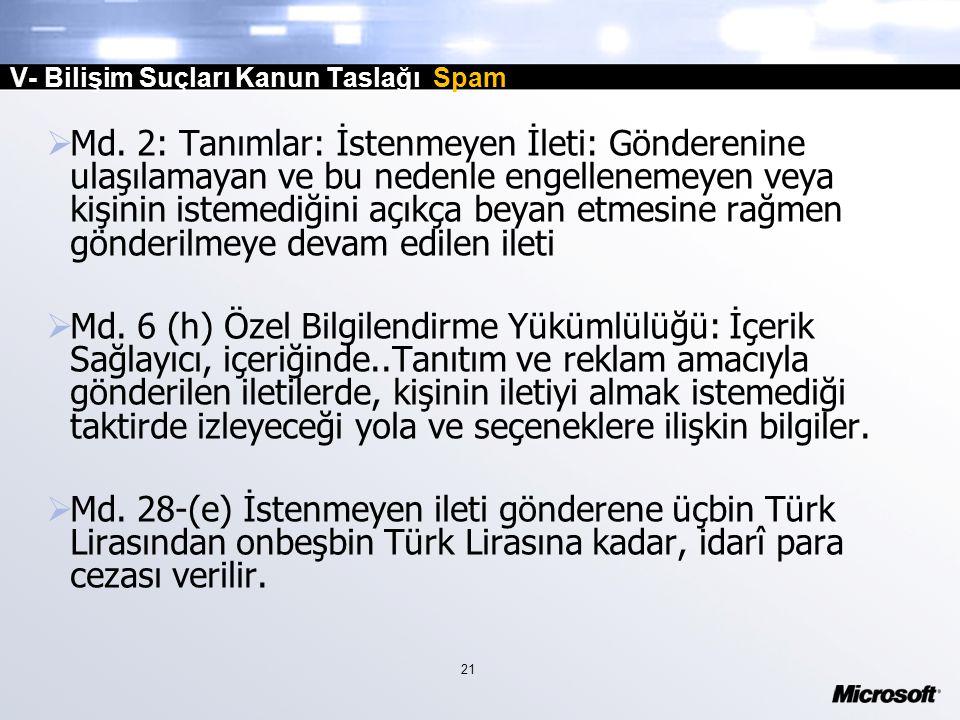 21 V- Bilişim Suçları Kanun Taslağı Spam  Md.
