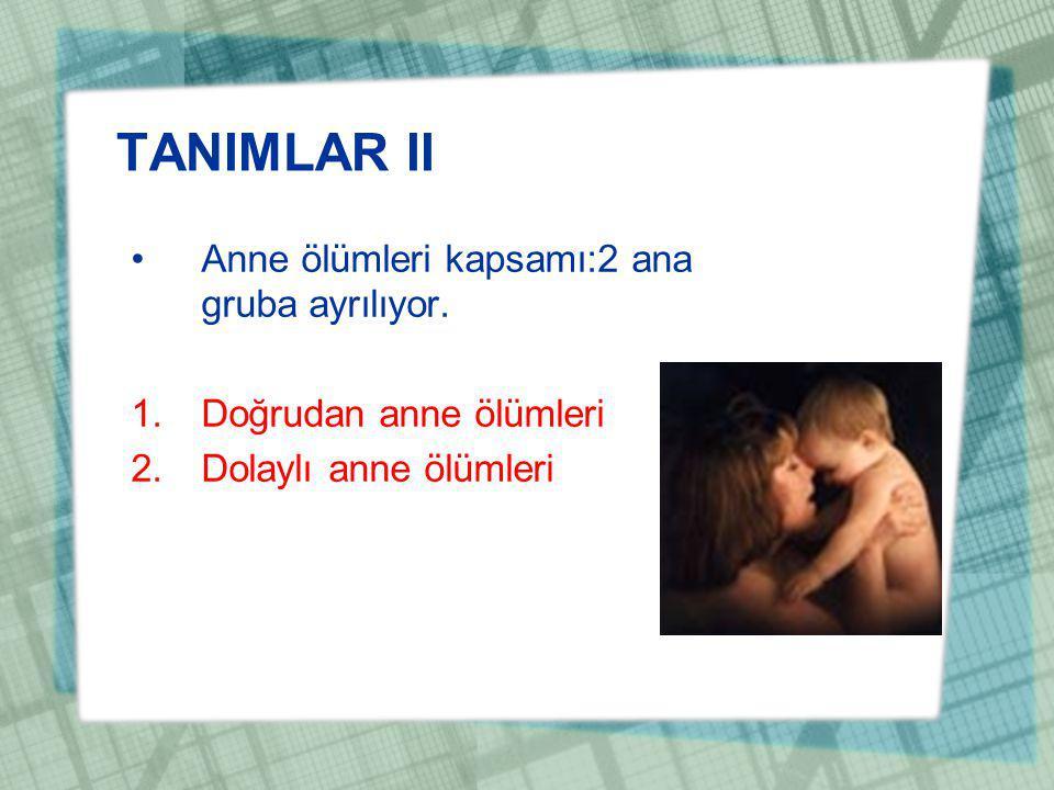 TANIMLAR II Anne ölümleri kapsamı:2 ana gruba ayrılıyor. 1.Doğrudan anne ölümleri 2.Dolaylı anne ölümleri