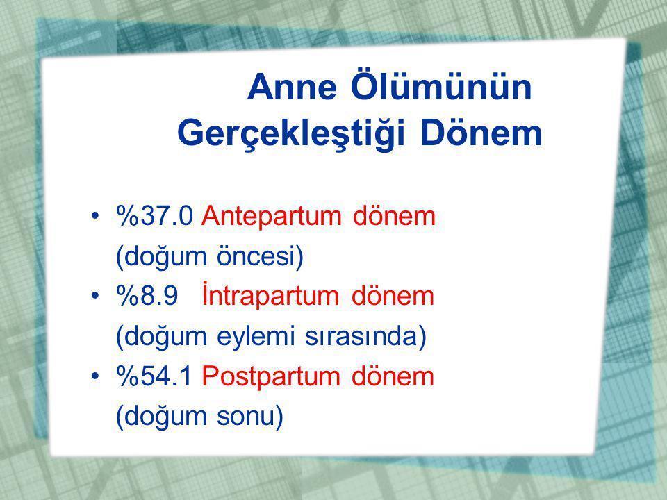 Anne Ölümünün Gerçekleştiği Dönem %37.0 Antepartum dönem (doğum öncesi) %8.9 İntrapartum dönem (doğum eylemi sırasında) %54.1 Postpartum dönem (doğum