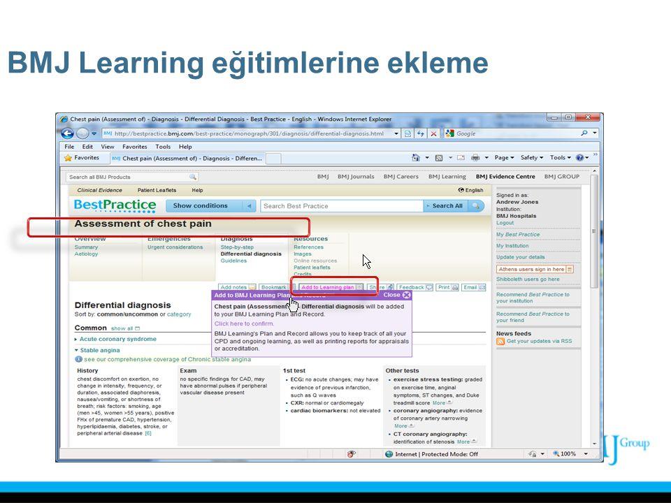 BMJ Learning eğitimlerine ekleme